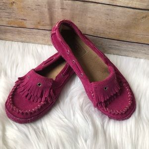 Girl's UGG Pink Leather Moccasins, Size 1